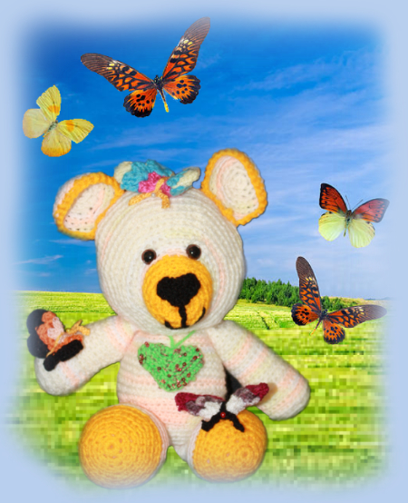 Flutterby, one of our loveable crochet teddies from the Jolly Jangle family