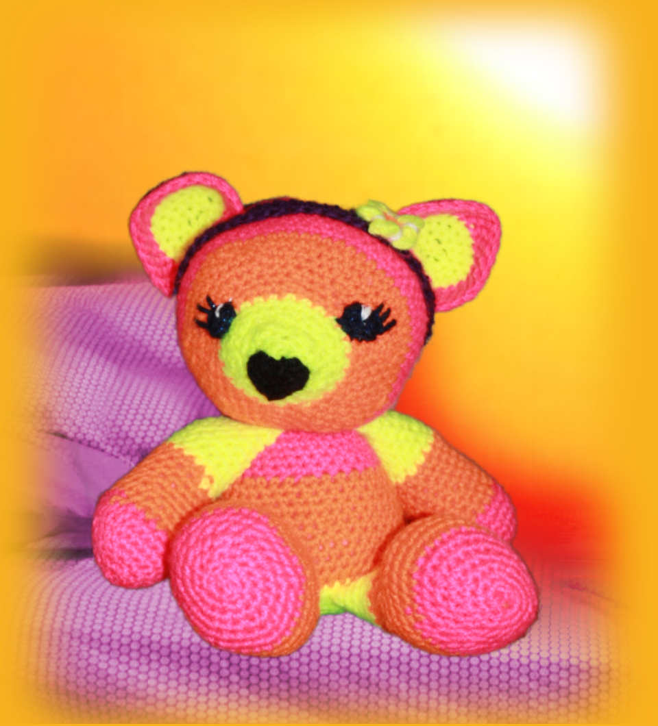 Sunset, one of our loveable crochet teddies from the Jolly Jangle family